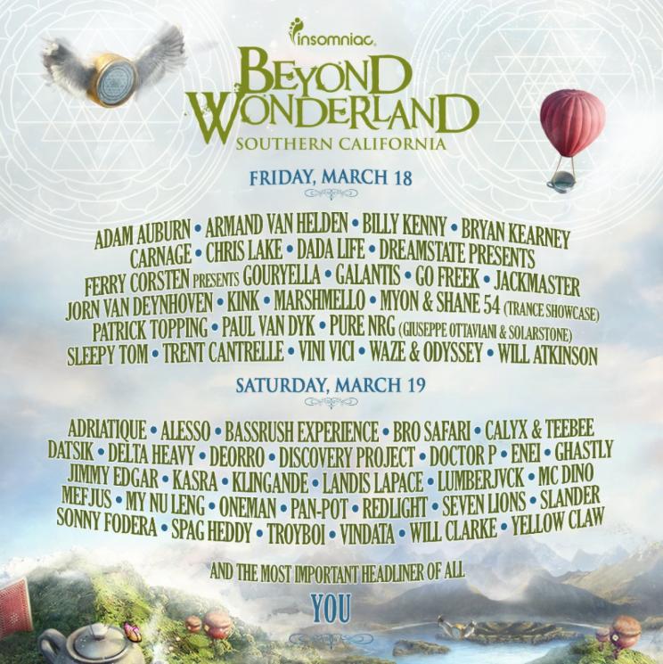 beyond wonderland 2016 lineup revealed