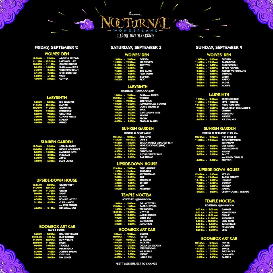 nocturnal wonderland 2016 set times festival map have arrived gde