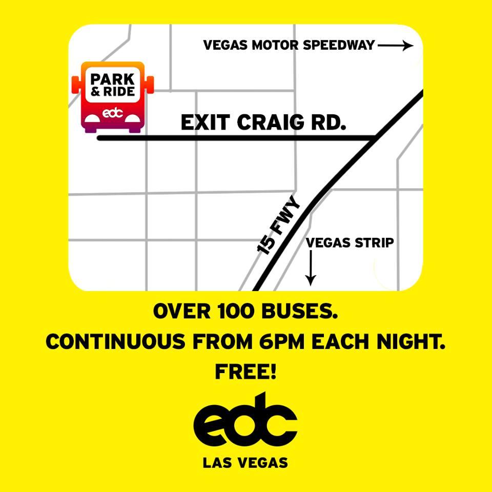 Insomniac announces free park ride service for edc las for Las vegas motor speedway transportation