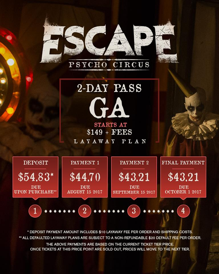 escape halloween 2017 tickets escape psycho circus now on sale gde