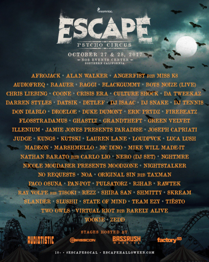 TICKETS: Escape Halloween 2017 Lineup Revealed 🔥 🔥 🔥 - GDE