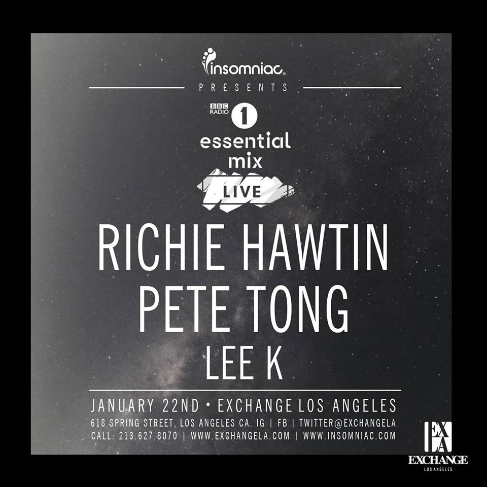 Richie Hawtin and Pete Tong at Exchange LA Tickets Fri. Jan. 22nd 2016