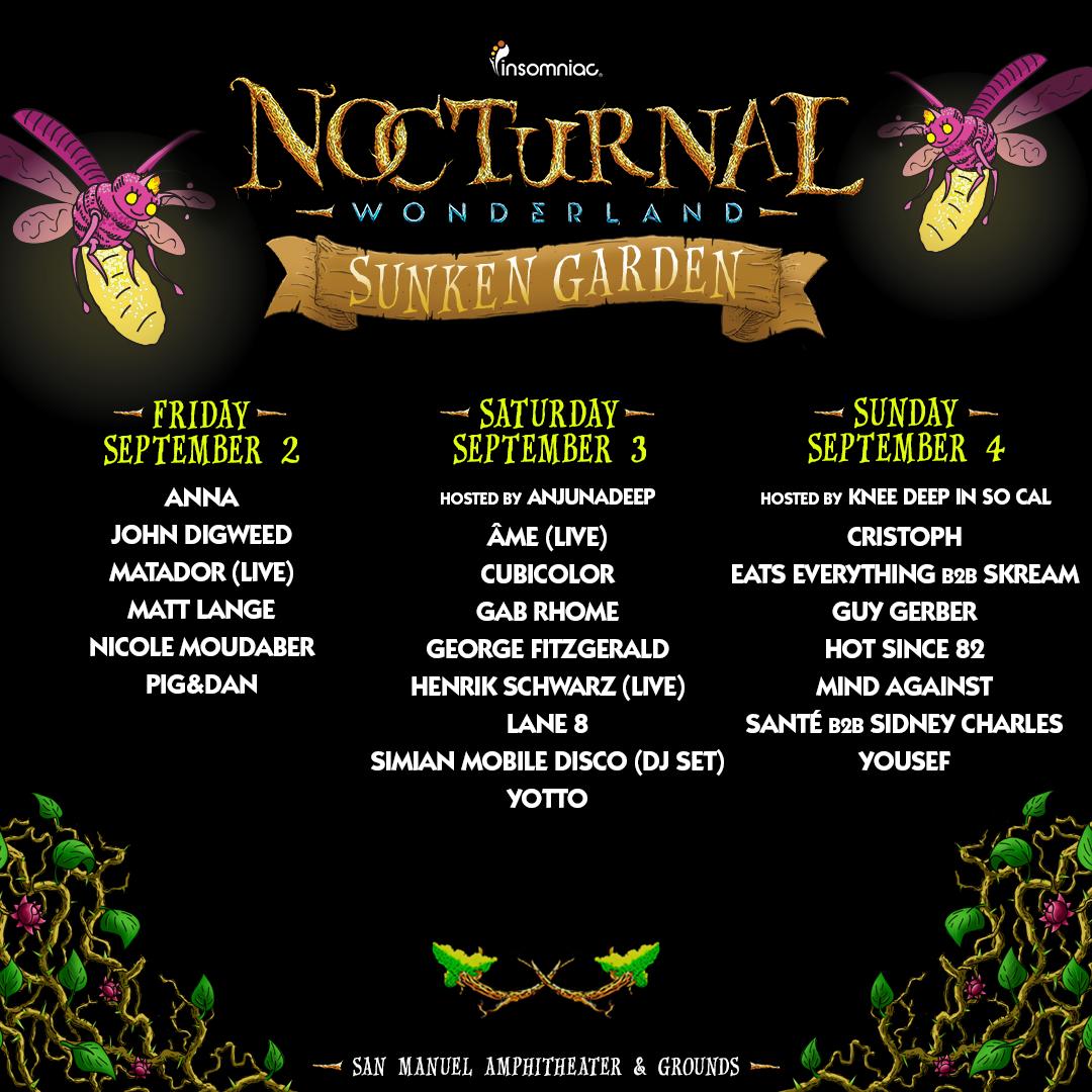 Nocturnal Wonderland 2016_Sunken Garden Stage Lineup