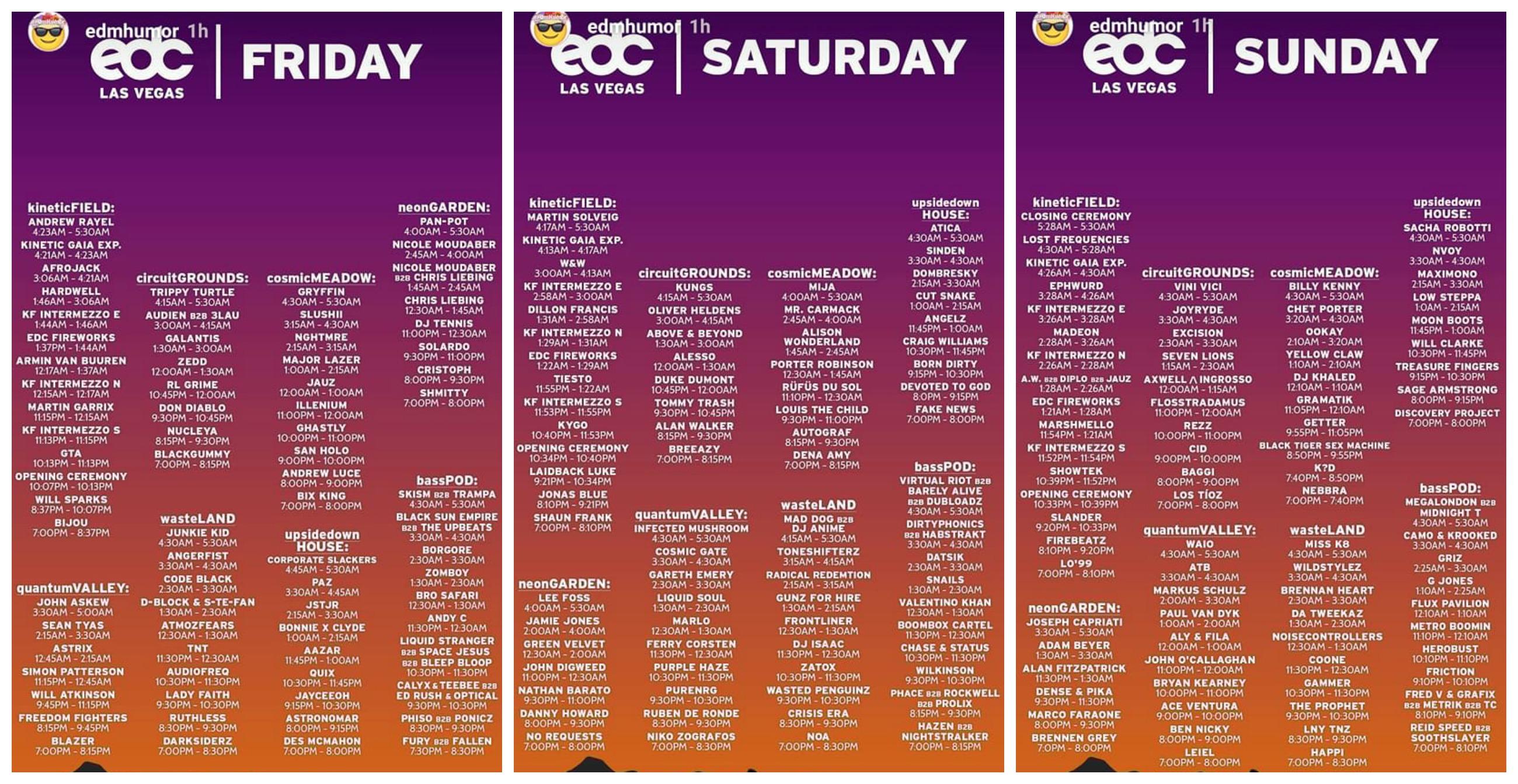 EDC Las Vegas 2017 Set Times
